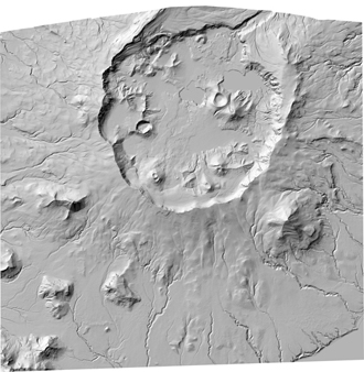 A low resolution jpg image file derived from the higher resolution tif shaded relief image okmok_shaded_relief.tif
